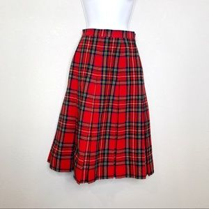 Laird-portch red tartan plaid pleated a line skirt